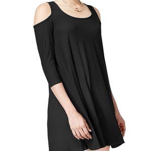 Planet Gold XL black cold shoulder scoop dress